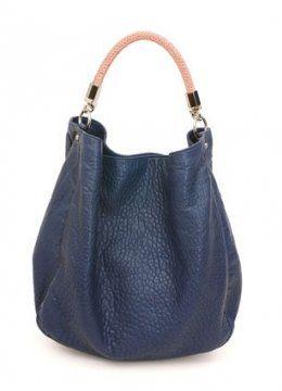 ROADY蓝色皮包搭配粉色鸵鸟皮手柄提包