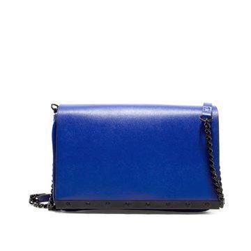 蓝色皮革手提包