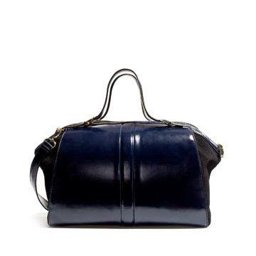 宝蓝色皮革手提包