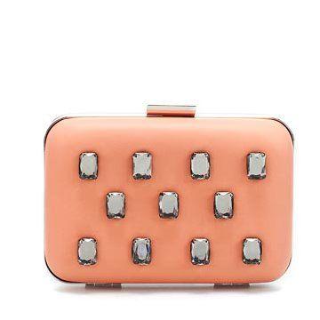 粉色饰钻手拿包