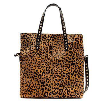 豹纹铆钉手提包