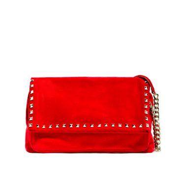 红色麂皮手提包
