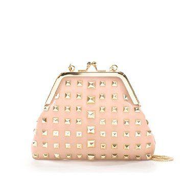 粉色铆钉手拿包