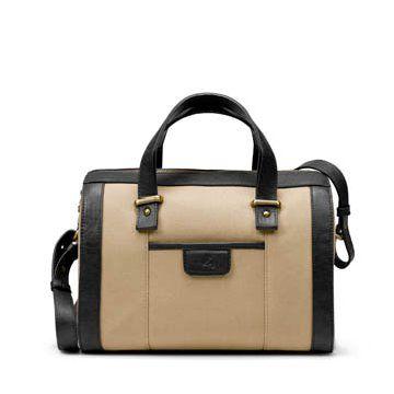 米色帆布手提包