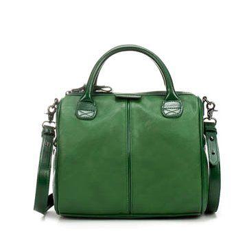 嫩绿色牛皮手提包