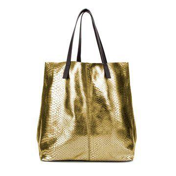 金属质感蟒蛇纹购物包