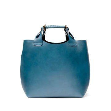 蓝色牛皮手提购物包