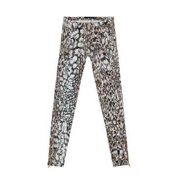 蛇纹印花修身长裤