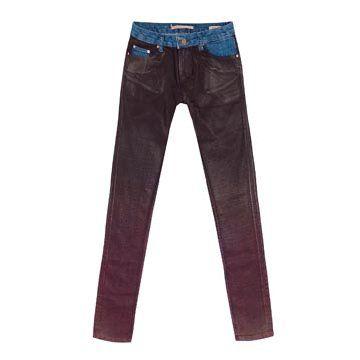 酒红色牛仔长裤