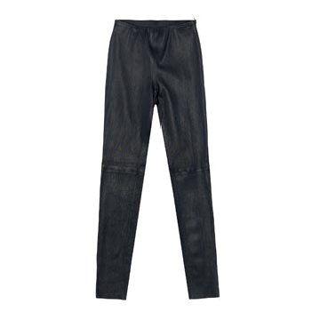 黑色皮革长裤