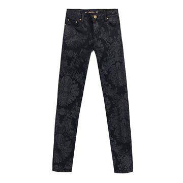 灰色印花修身长裤