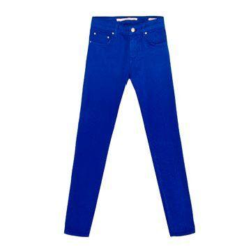 钴蓝色修身长裤