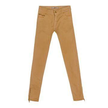 奶油黄色修身长裤