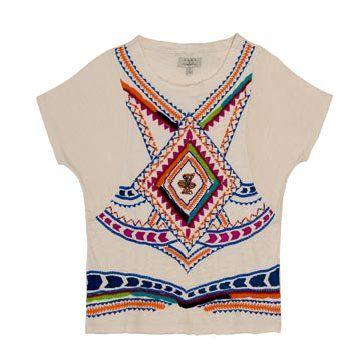 米色刺绣短袖