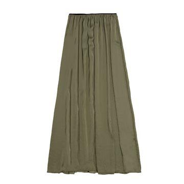 墨绿色亮缎半裙