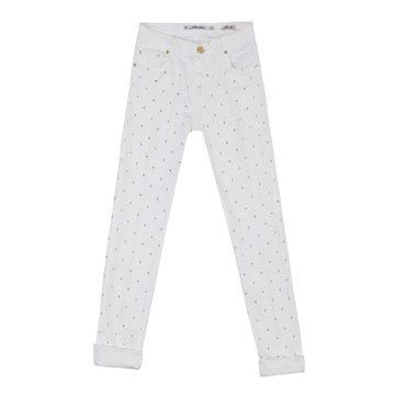 白色铆钉长裤