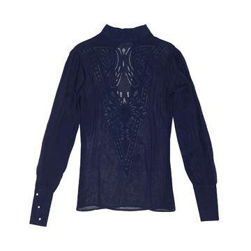 深蓝色雪纺衬衫