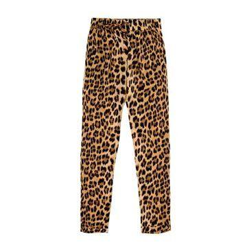 黄色豹纹长裤