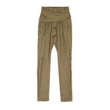 浅咖色丝缎长裤