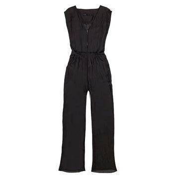黑色丝缎连身裤