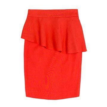 红色荷叶边半裙