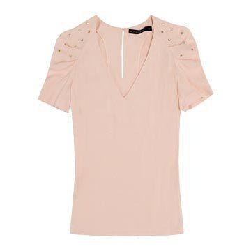 粉色雪纺短袖