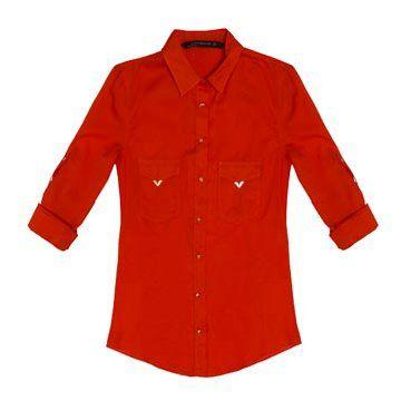 橘色丝缎衬衫
