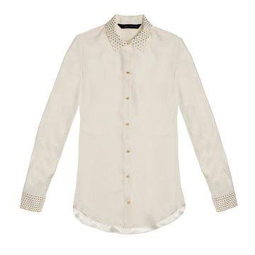 白色丝缎衬衫