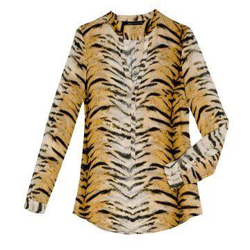 虎纹雪纺衬衫