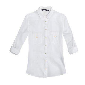白色丝绵衬衫