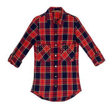 蓝红色条纹衬衫