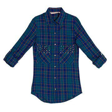 蓝绿色条纹衬衫