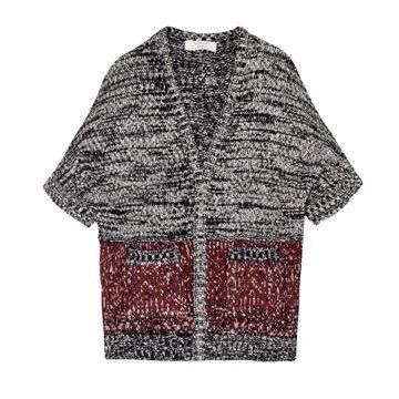 灰色雪花点针织衫
