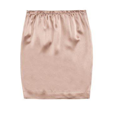 裸色亮缎半裙