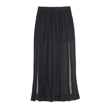 黑色薄纱长裙