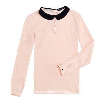 粉色圆领长T