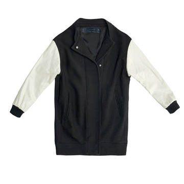 黑色拼接外套