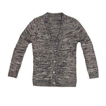 灰色V领针织衫