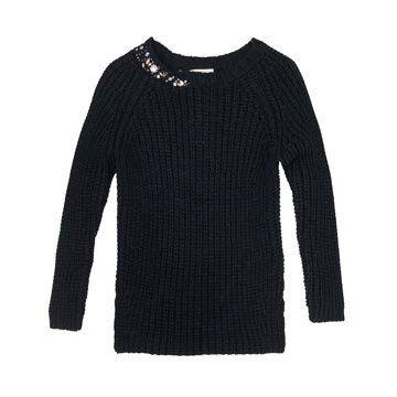 黑色镶钻针织衫