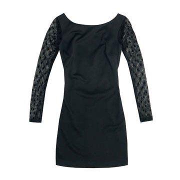 黑色长袖连衣裙