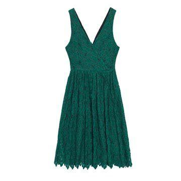 石绿色蕾丝连衣裙