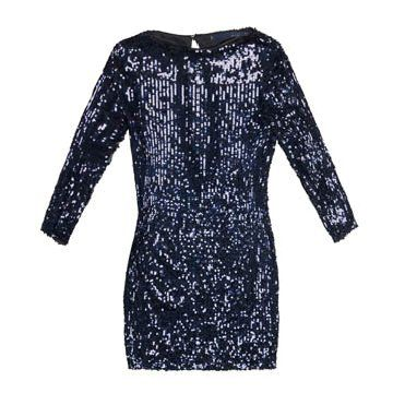 藏蓝色亮片连衣裙