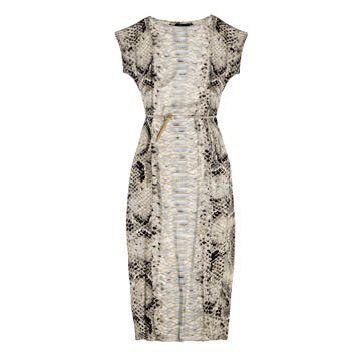 白色蟒蛇纹连衣裙