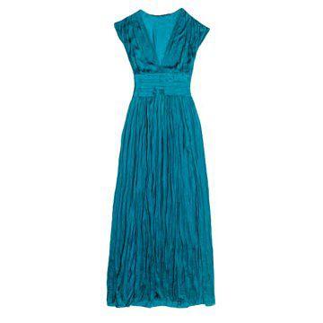 湖蓝色褶皱连衣裙
