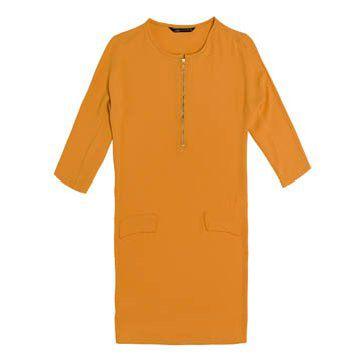 鹅黄色直筒连衣裙