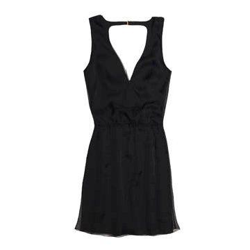 黑色深V连衣裙