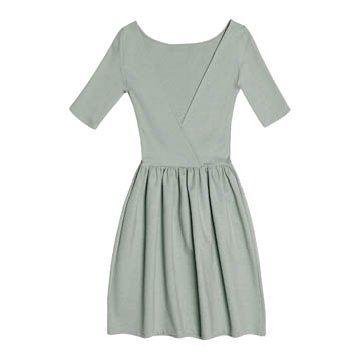 青灰色深V连衣裙