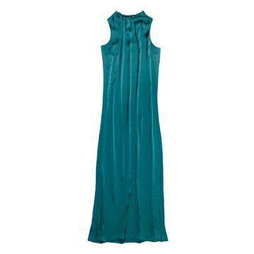 湖蓝色缎面连衣裙