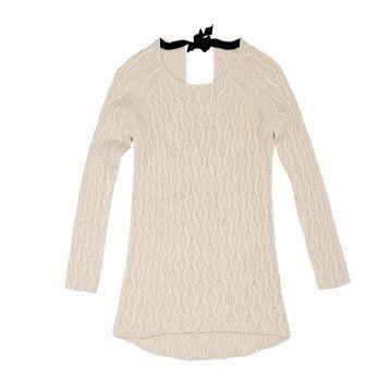 米色螺纹针织衫