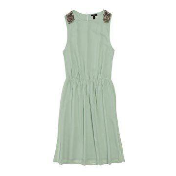 水绿色雪纺连衣裙